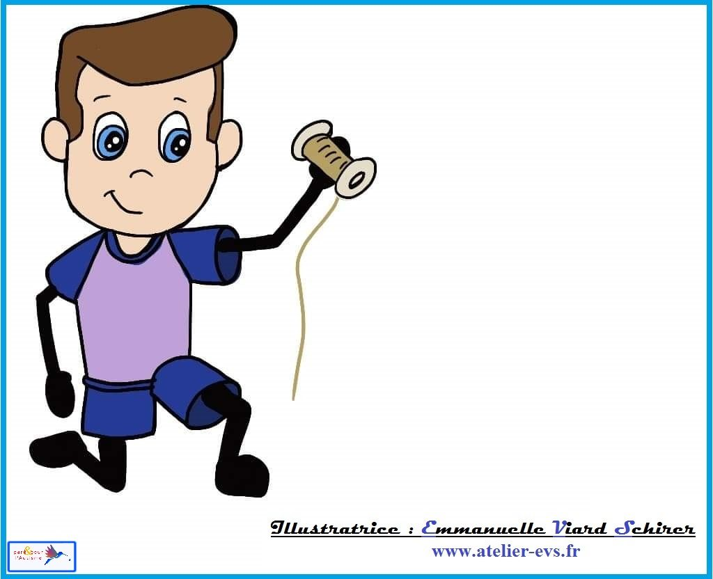 sami ramasse une bobine de fil doré