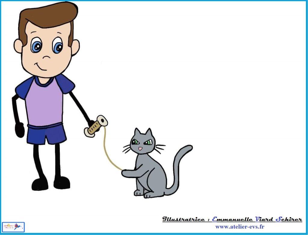 sami donne la bobine au chat