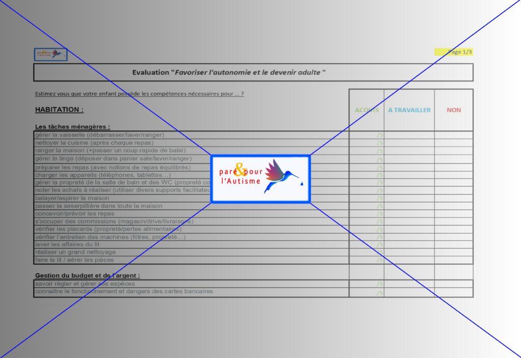 autonomie adulte autisme asperger : évaluation 1