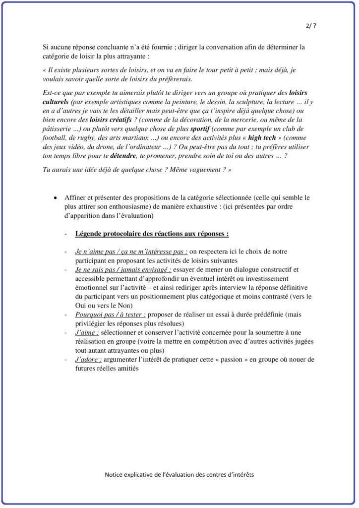 Notice explicative de l'évaluation 2