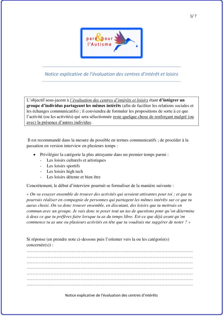 Notice explicative de l'évaluation 1