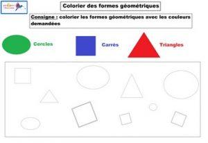 activité colorier des formes géométriques