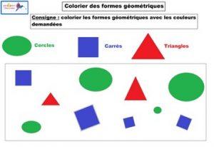 activité colorier des formes géométriques : correction