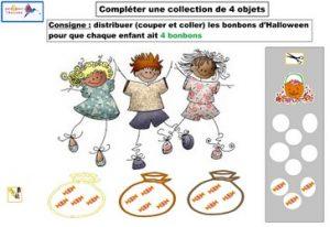 activité compléter une collection de 4 objets