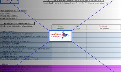 évaluation compétences scolaires GS maternelle page 1