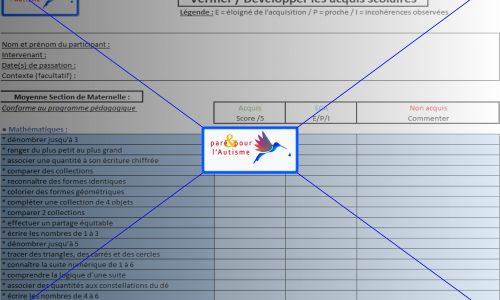 évaluer les compétences scolaires MS maternelle page 1